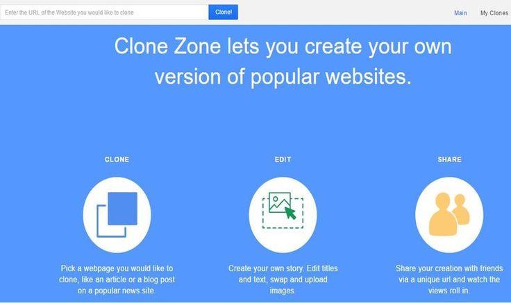 Clone Zone es una divertida página que nos permite clonar cualquier diario online, personalizar texto e imágenes y usarlo para gastar bromas a los amigos.