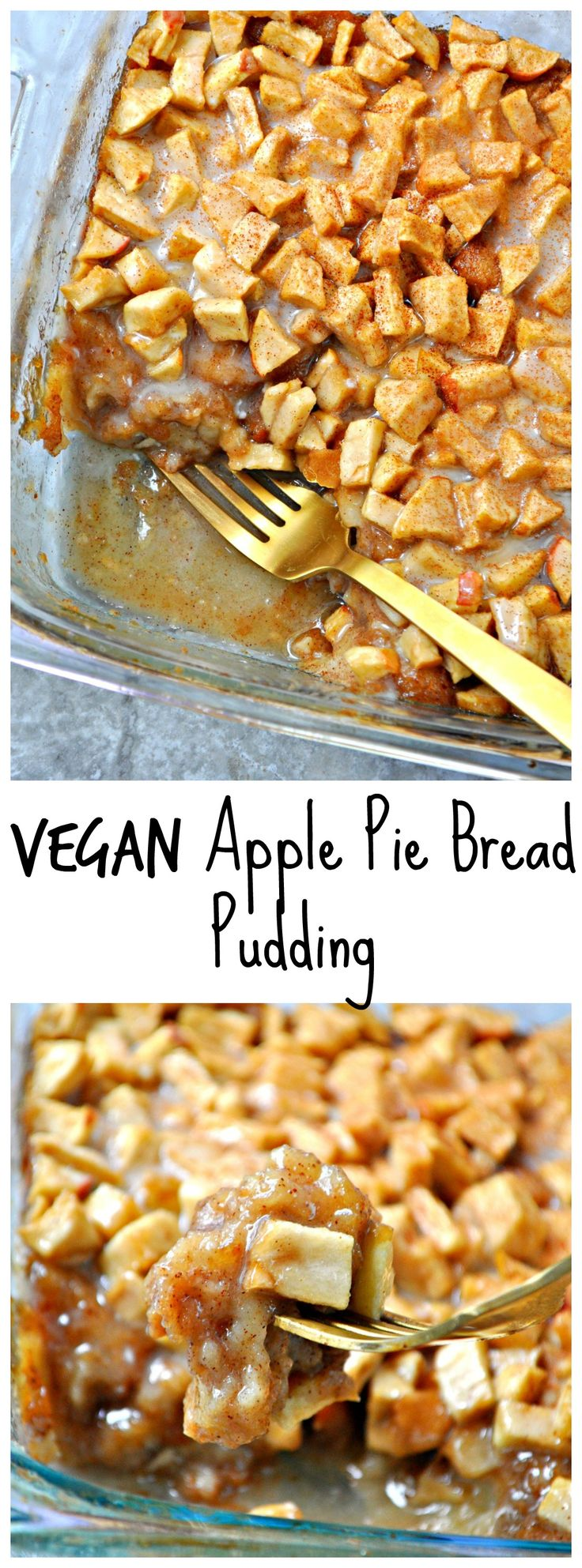 Vegan apple pie bread pudding is the best bread pudding. Super easy, incredibly delicious! Tastes like apple pie and bread pudding had a baby!