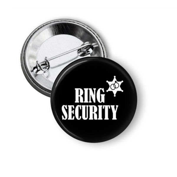 Ring Security Pinback Button #ringsecurity #ringbearer #bride #wedding