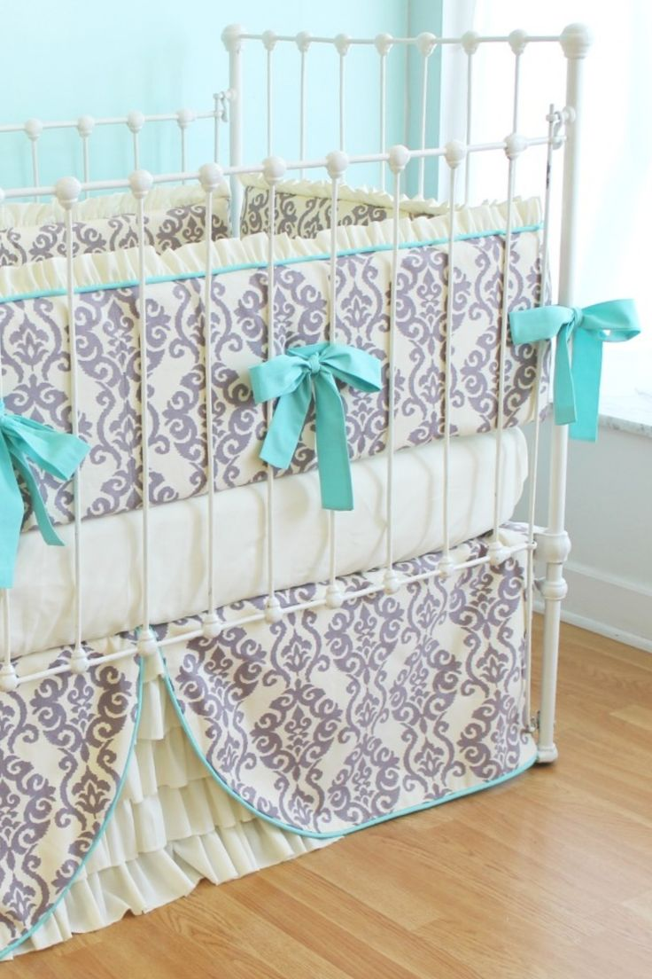Modern+Crib+Bedding Elegant Ikat Ruffles Crib Set