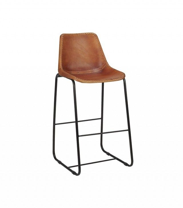 "CB2 Roadhouse Leather 30"" Bar Stool"