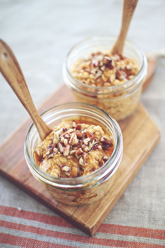 Pumpkin Pie Protein Overnight Oatmeal. Do not add the yogurt for a #Vegan version. No need to substitute anything.