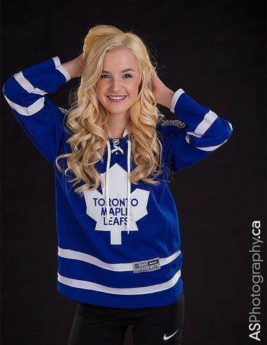 Sexy young blonde woman wearing Toronto Maple Leafs jersey ...