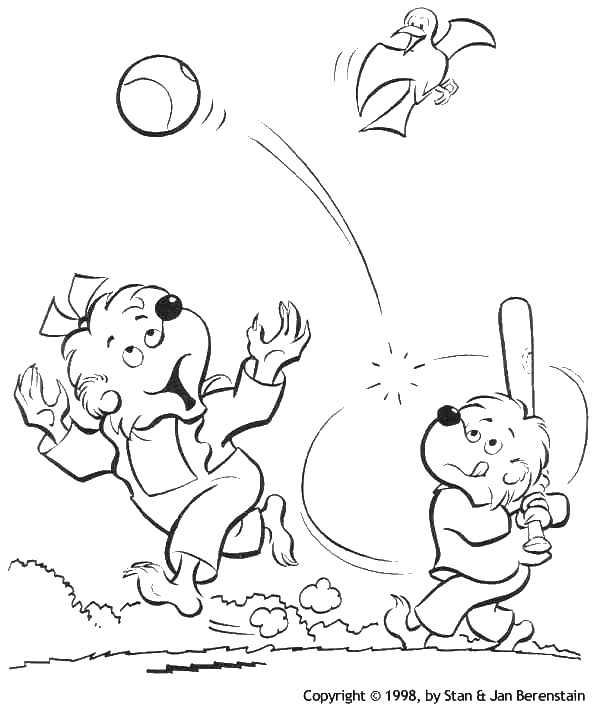 berenstain bears playing baseball coloring page - Berenstain Bears Coloring Book
