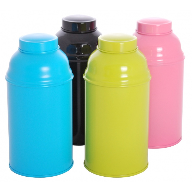 Great funky caddies - Tea Caddy 'POP' online in black, green, pink and blue - Cup of Tea Ltd