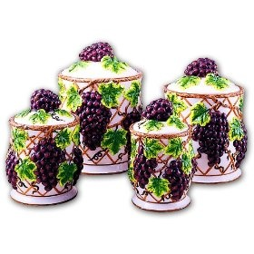 Nice GRAPES Kitchen CANISTERS Set Ceramic Fruit Theme Home Decor