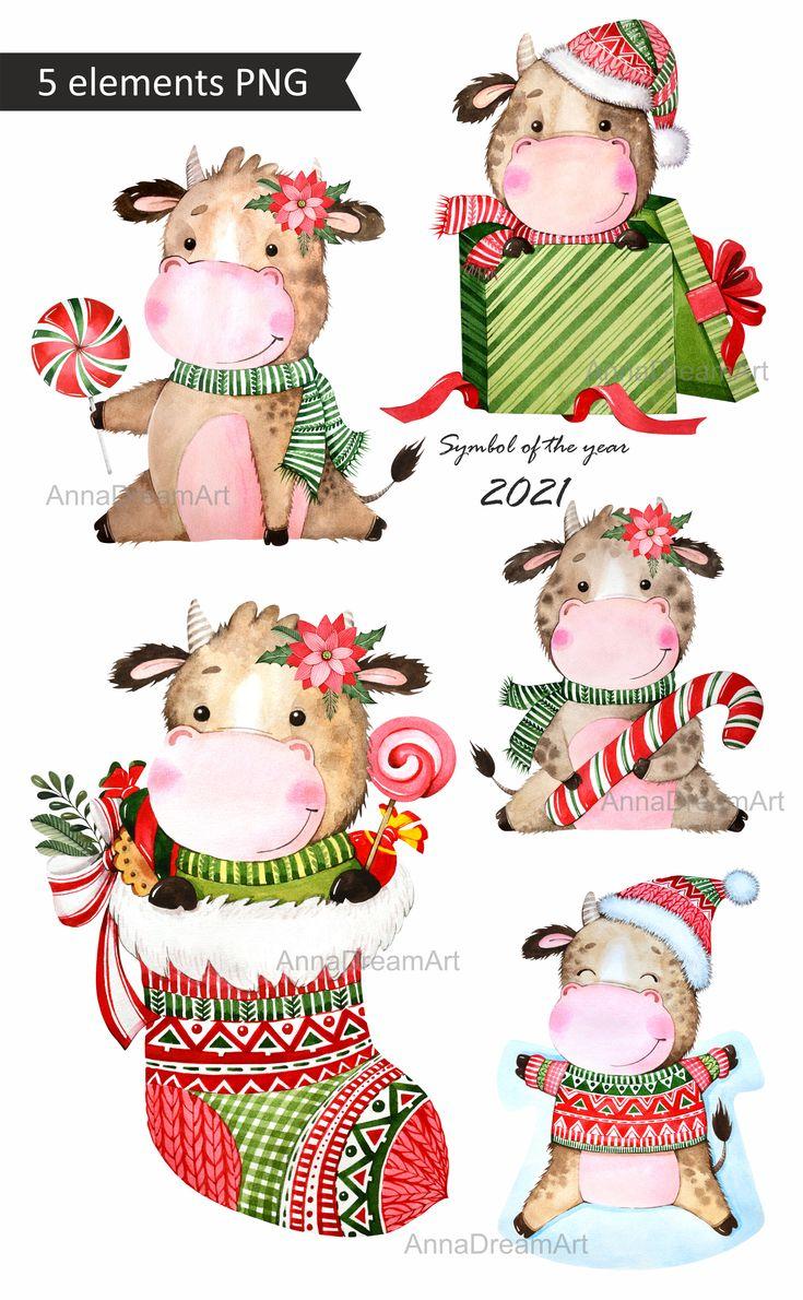 New year 2021. Cute bull. Symbol of the year 2021