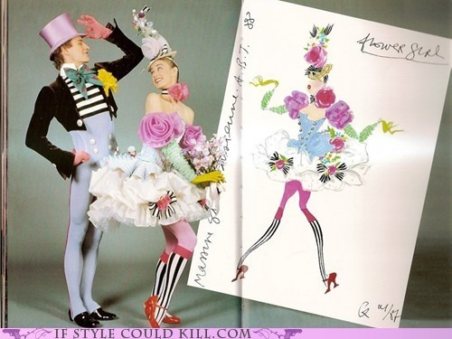 A Christian Lacroix sketch accompanied by the outfit fully realized