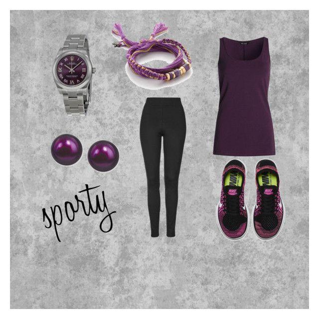 """sporty"" by corien-1 ❤ liked on Polyvore featuring moda, NIC+ZOE, Topshop, Rolex, Honora, Aurélie Bidermann, NIKE, women's clothing, women ve female"