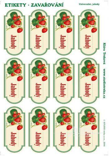 Samolepicí etikety, zavařování jahody