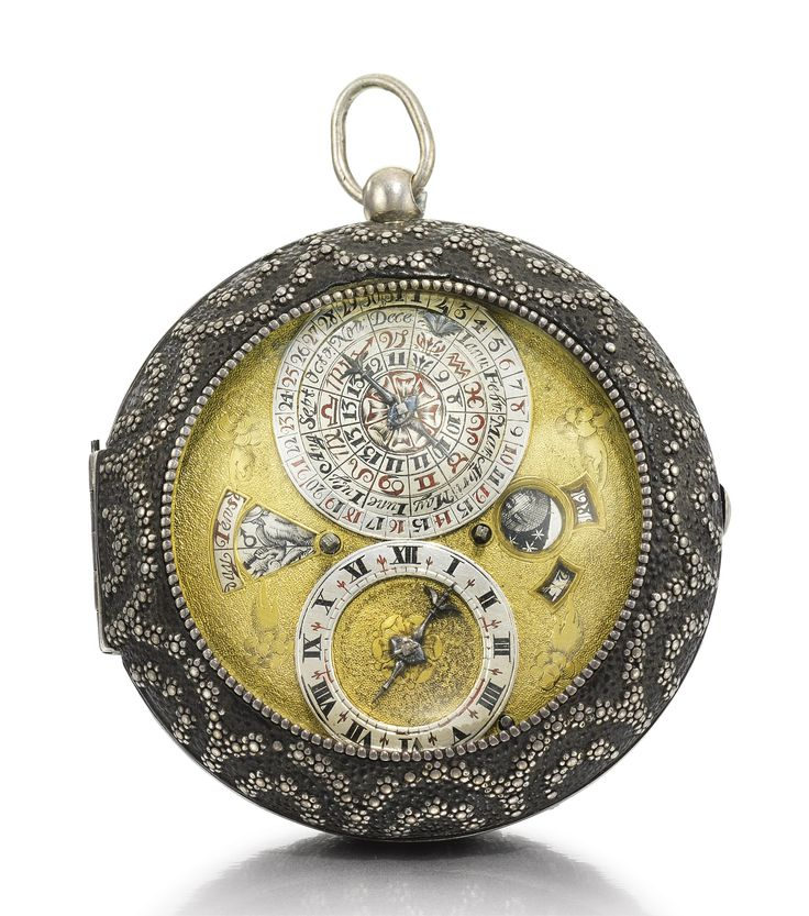 Benjamin Hill, Londini A SUPERB SILVER ASTRONOMICAL VERGE WATCH WITH INDICATIONS FOR DATE, MONTHS WITH SIGNS OF THE ZODIAC, DAY WITH RULING PLANET, LUNAR DATE, MOON-PHASES AND PLANET HOURS IN LEATHER OUTER CASE DECORATED WITH PIQUÉ WORK CIRCA 1665