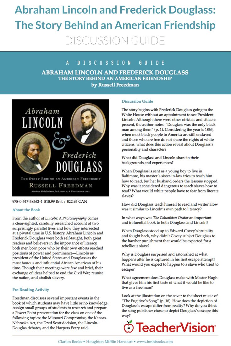 This literature guide to Abraham Lincoln and Frederick Douglass: The Story Behind an American Friendship includes a pre-reading activity, discussion questions, and post-reading activities about these two key figures in U.S. history. Students will answer questions about Lincoln and Douglass' childhood, their careers, and the abolition movement.