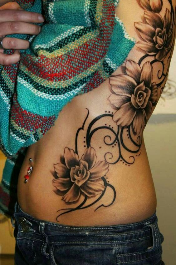 Image result for side tattoos for women flowers