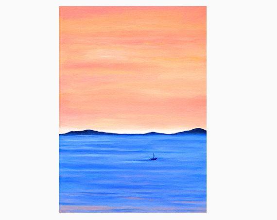 Tramonto oceano dipinto, 20x30 olio originale su tela, arte paesaggio mare, rosa corallo e blu, decoro casa al mare, arredo casa spiaggia by SilviaVeri #italiasmartteam #etsy