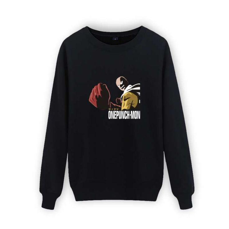 Trendy One Punch Man Black Sweatshirt Men Hip Hop in One Punch-Man Mens Hoodies and Sweatshirts Sets  3xl xxs