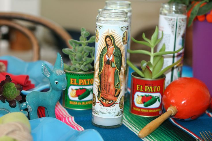more fiesta decor -- I like the idea of using the brand specific cans (use Goya?)