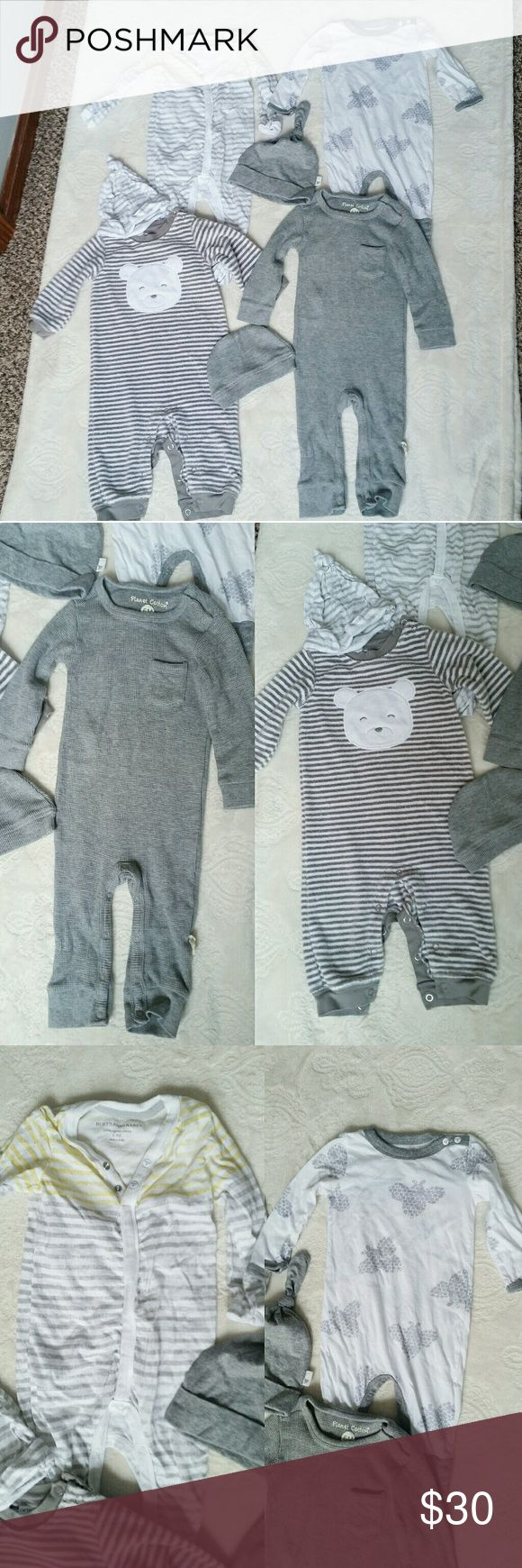 4 Gender Neutral Body Suits  6 Months All NWOT, never worn! 2 burts bees baby with matching hats, size 3-6 months and 6-9 months, one Henley Planet Cotton bodysuit with matching hat 6 months, one Carter's 6 months. 7 pieces total. Burt's Bees Baby One Pieces Bodysuits
