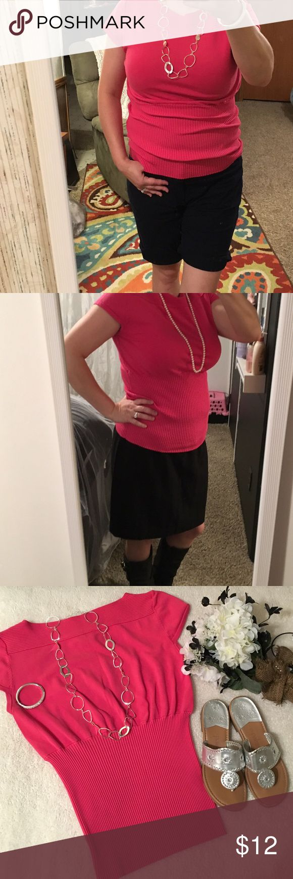 """Worthington ribbed short sleeve top Worthington dress top. Short """"cap"""" sleeved, pink, ribbed torso has a slimming effect. It looks better when wearing fitted. I'm a size 12 which makes the top look a bit baggy. It would fit a size 14-18 best. Has great stretch! Dress it up or down. Pairs great with silver & navy. Has a matching skirt size 16. That bundle has its own listing. Worthington Tops Blouses"""