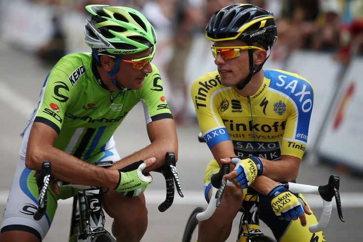 Ivan Basso of Italy riding for Cannondale talks with Rafal Majka of Poland riding for Tinkoff-Saxo during stage one of the 2014 USA Pro Challenge on August 18, 2014 in Aspen, Colorado.