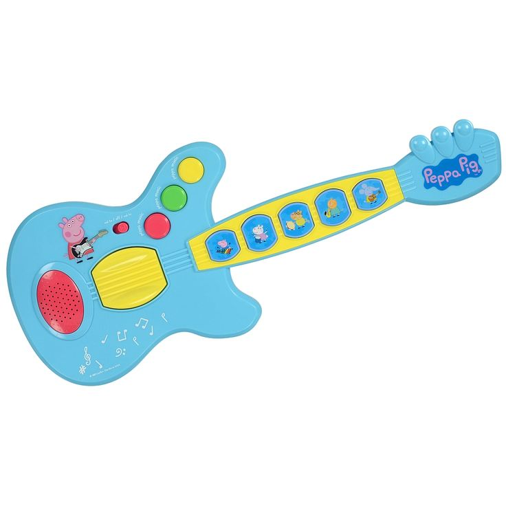 This colourful Peppa Pig guitar plays music and sounds from the Peppa Pig series.  Your child will be delighted with the multiple rhythms and with the five instrumental sounds that can be created using this guitar.  The Peppa Pig Fun-Stuff Guitar comes fully assembled and the two AA batteries are included.