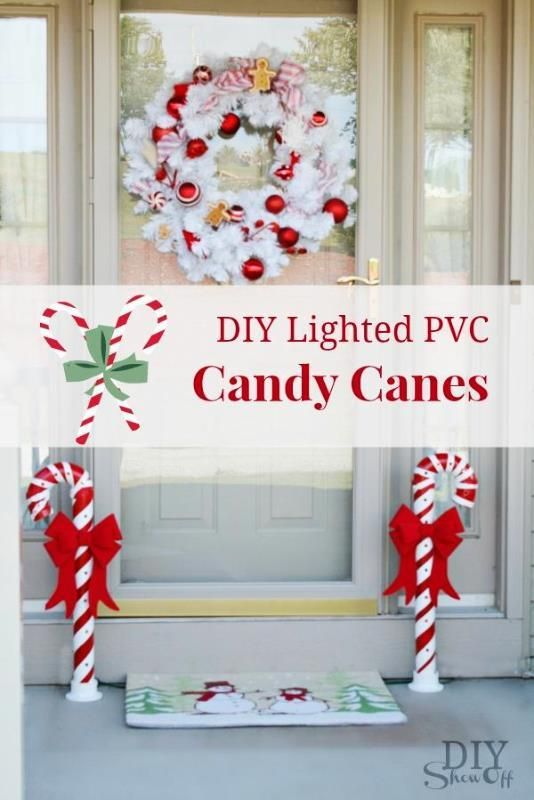 Great way to spruce up your front porch with these DIY Lighted PVC Candy Canes.