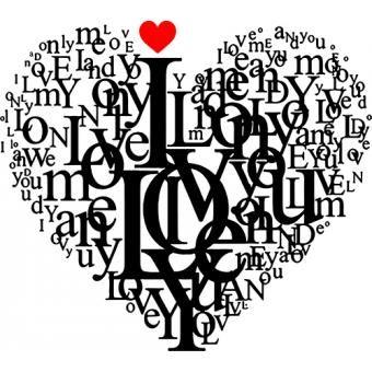 Vinilo Decorativo Corazón en letras Negro