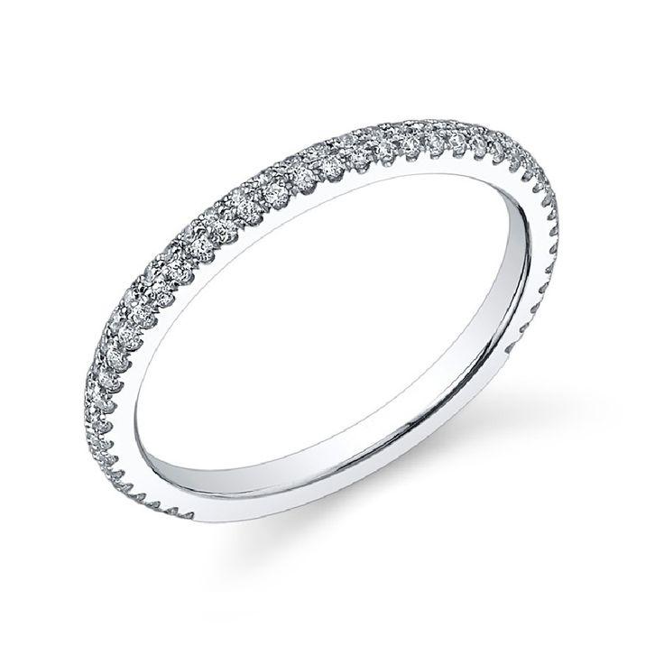 Superb Ladies u classic round stone pav set diamond wedding band tinkeringco