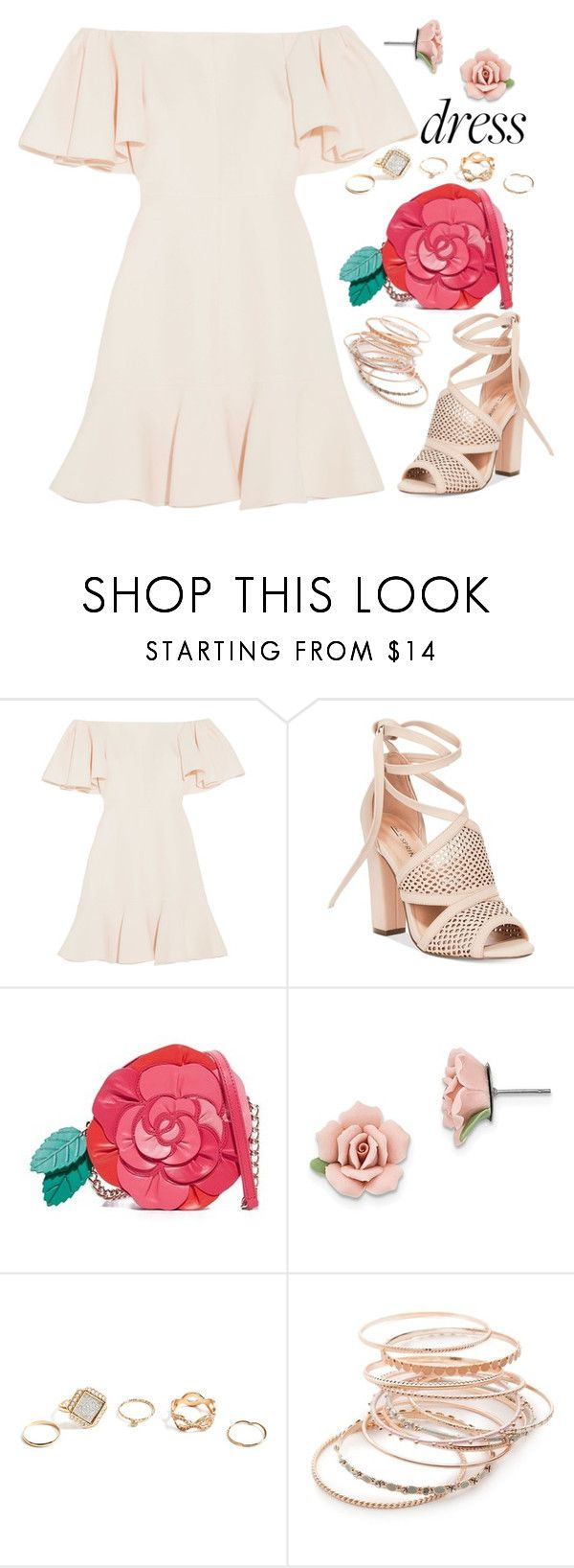 """Spring Trend: Off-Shoulder Dresses"" by joslynaurora ❤ liked on Polyvore featuring Valentino, Call it SPRING, Kate Spade, 1928, GUESS, Red Camel, Spring, dress, sandals and offshoulderdress"