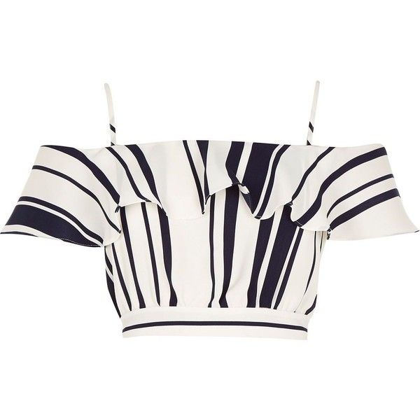 River Island Blue stripe ruffle bardot crop top (46 BAM) ❤ liked on Polyvore featuring tops, crop top, river island, striped crop top, white summer tops, off shoulder tops, off the shoulder ruffle top and off shoulder crop top