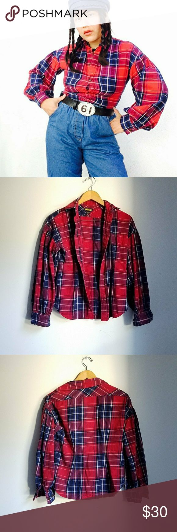 "RL balloon sleeves boho grunge plaid flannel Ralph Lauren Rugby balloon sleeves plaid flannel button down shirt. Red / blue combo. Size 4 (s).   Wish this fit, I'd keep it 💔 Recommended for girls with A cups, as chest area is on the narrow side.   This pup looks perffff paired with high waisted skirts and bell bottoms, for a cool 70's retro look 😘  Measurements flat, closed:  Length: 22"" Armpit to armpit: 18"" Sleeves: 19""   ● 20% off on bundles    Vintage y2k RL Ralph Lauren plaid flannels…"