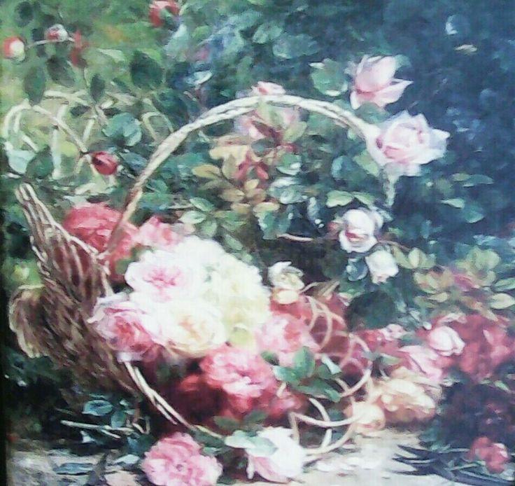 Καδρακι σε καμβά με λουλούδια 💐💐💐