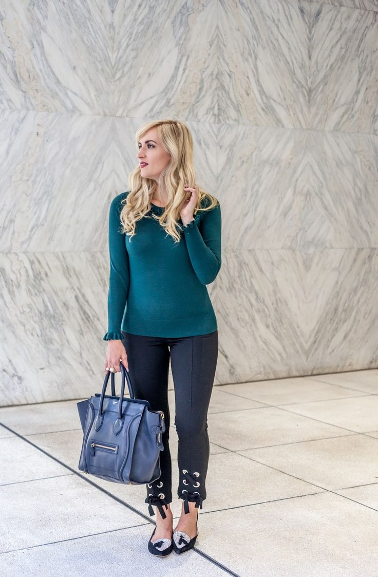 Up your work day style with lace detail pants and ruffle sleeves! Click through for details! #fashionblogger #workwear #fashion