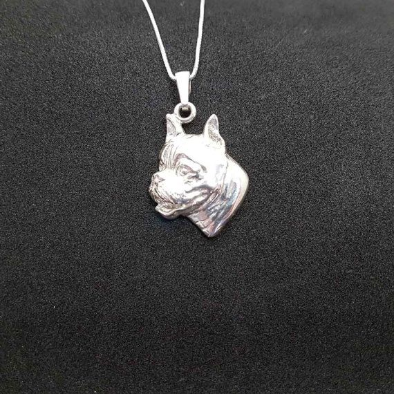 Boxer dog jewelry pendant-Sterling Silver-Personalized Pet Necklace-Dog lover gift-Custom Dog Necklace-Pet Memorial Gift-Dog Mom jewellery by jewelledfriend. Explore more products on http://jewelledfriend.etsy.com