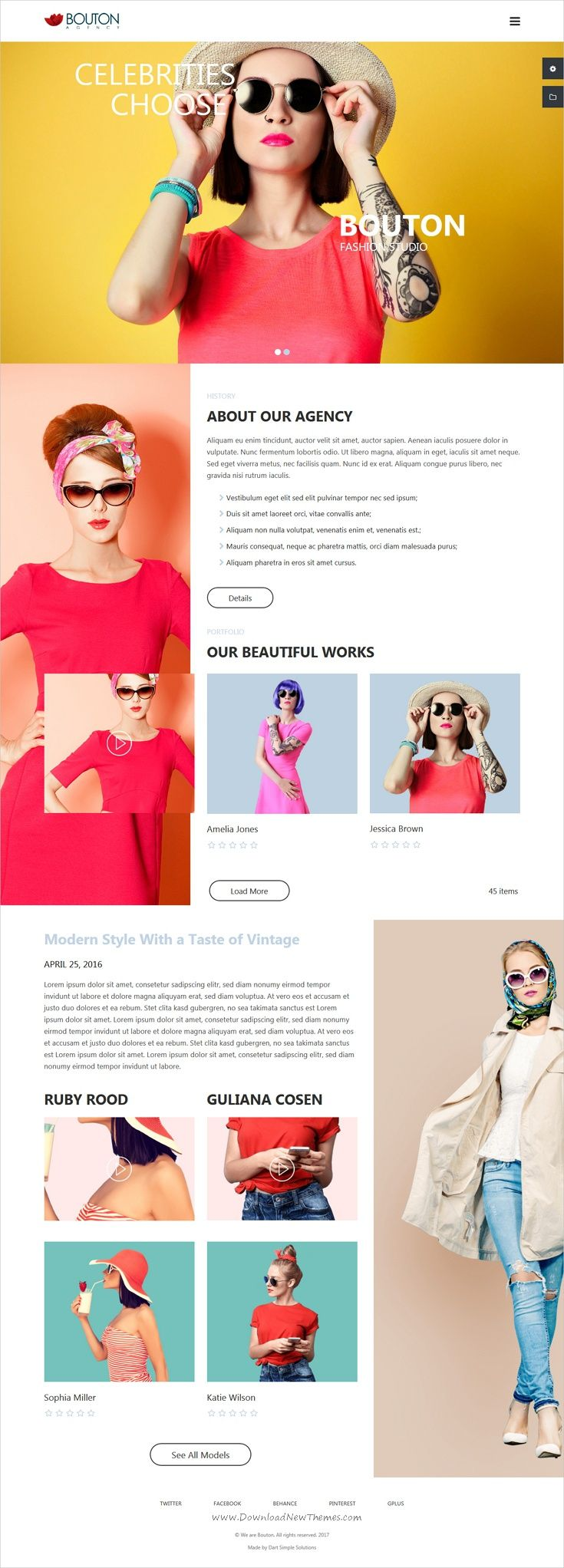 Bouton is clean and modern design 3in1 responsive #bootstrap template for #modeling, #fashion studio or design studio website download now..