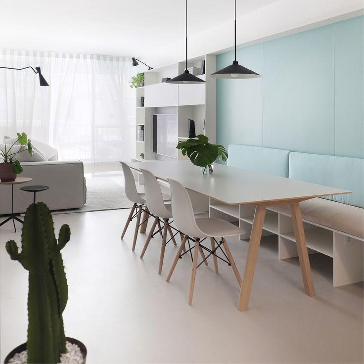 Lindo projeto para sala de apartamento pequeno (80m2) contemporâneo, claro e clean. Respeitando a circulação e ergonomia