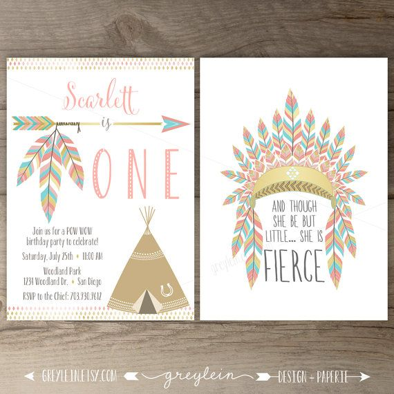 Pow wow Birthday Party Invitations • ONE • arrows feathers headdress tribal native teepee • pink and gold • DIY Printable