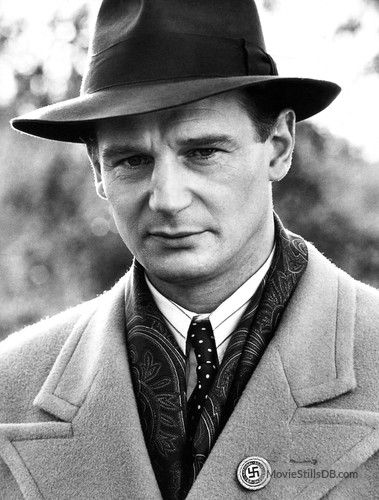 Liam Neeson as Schindler in the 1993 movie Schindler's List=one of the BEST movies ever made!!!