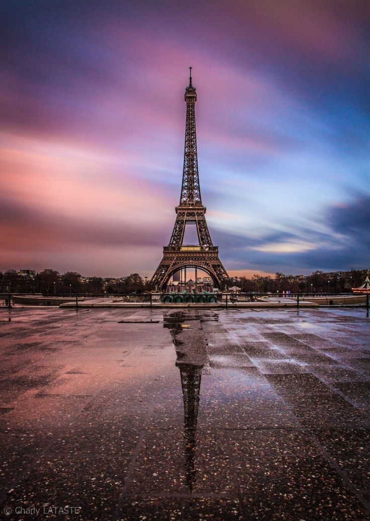 """Eiffel sunset"" by Charly LATASTE on 500px ~ Eiffel Tower, Paris, France at…"