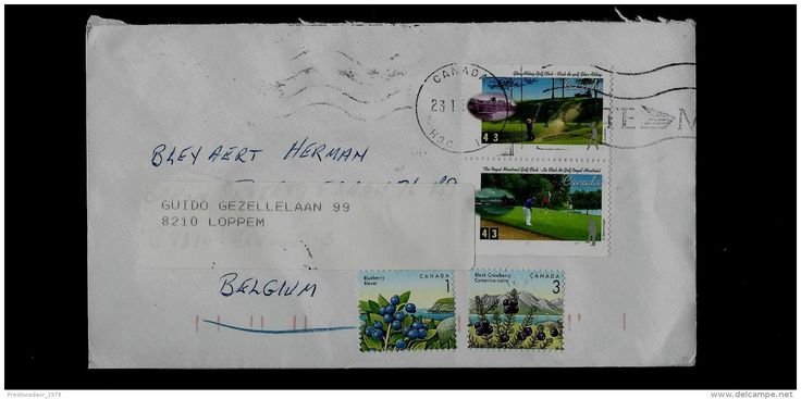 POSTAL USED COVER - CANADA TO BELGIUM ( GOLF, fruits ) - Delcampe.net