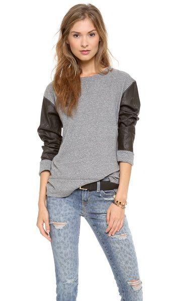 Leather sleeved sweatshirt. Yes please!