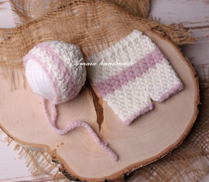 Baby girl pants and hat, crochet newborn bonnet and pants set - Baby girl photo outfit - Made to order by Amaiahandmade on Etsy