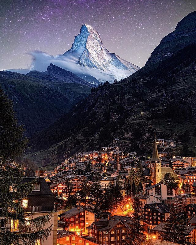 The Matterhorn,  Courtesy of @sennarelax  Find us on Facebook, link in our bio  #Switzerland_Vacations
