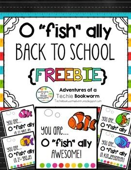 "Use these cute gift tags for back to school welcome goodies for your students. I also included a generic ""You are o ""fish"" ally awesome card to give for fun throughout the year. You can even give that to co-workers (who doesn't love a little snack gift now and then?!?!) If you enjoy this product, please follow me for updates and freebies. :)Tags include: 1."