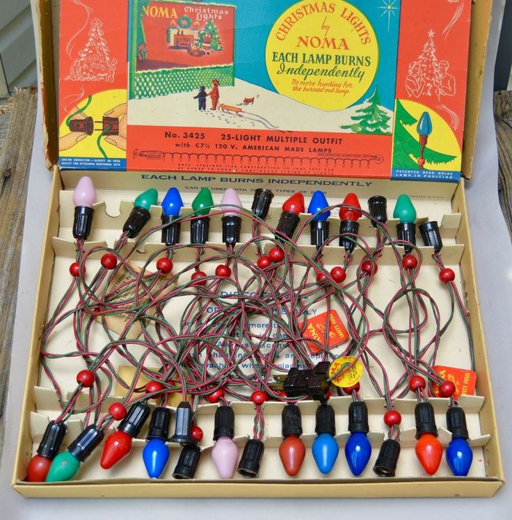 25 Vintage Noma Christmas Lights . w/Box . Burns Independently . No. 3425 . Work