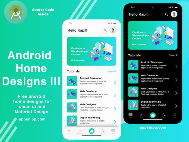 Android Education App Home Designs With Dark Mode Android Tutorials Android Design Educational Apps