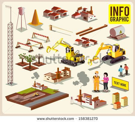 #infographic #isometric #illustration #vector #building #information #map #transportation #construction #factory #car #vehicle