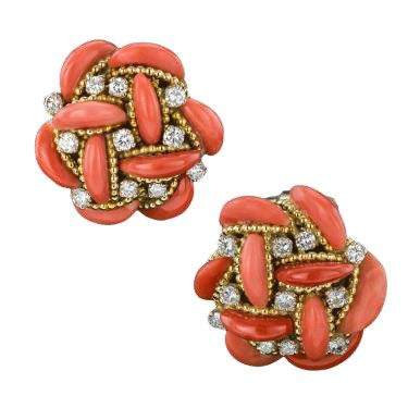 Coral, diamond and 18ct gold earrings, a highlight from the Winter Art and Antiques Fair, Olympia