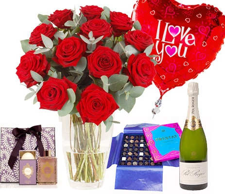 12 Red Roses Valentines Flowers with champagne, balloon & chocolates ...