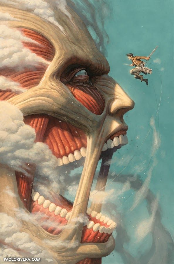 Eren vs Titan Colosal. Attack on Titan by Paolo Rivera *