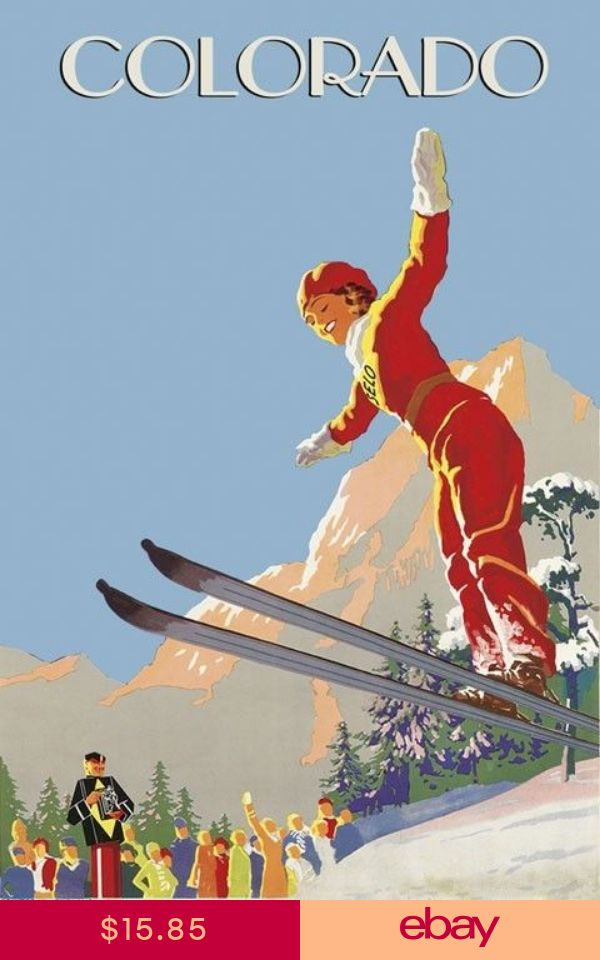 POSTER WINTER SPORT SKI CRESTED BUTTE COLORADO USA SKIING VINTAGE REPRO FREE S//H
